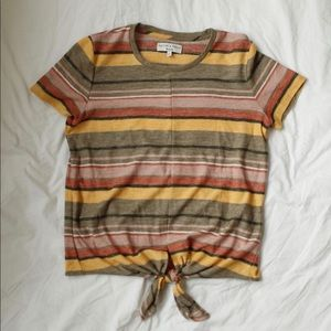 Madewell Texture and Thread Striped Tie Front Top